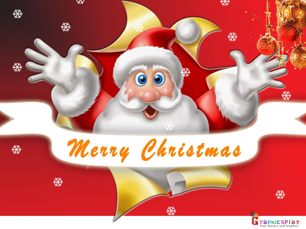 Christmas Greeting With Santa JPG and PSD 2