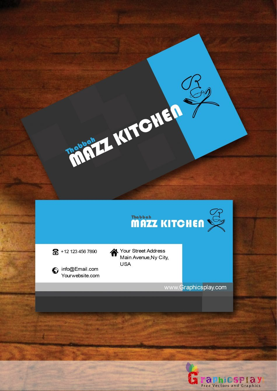 Black and Blue Business Card Vector for Food and Catering ...
