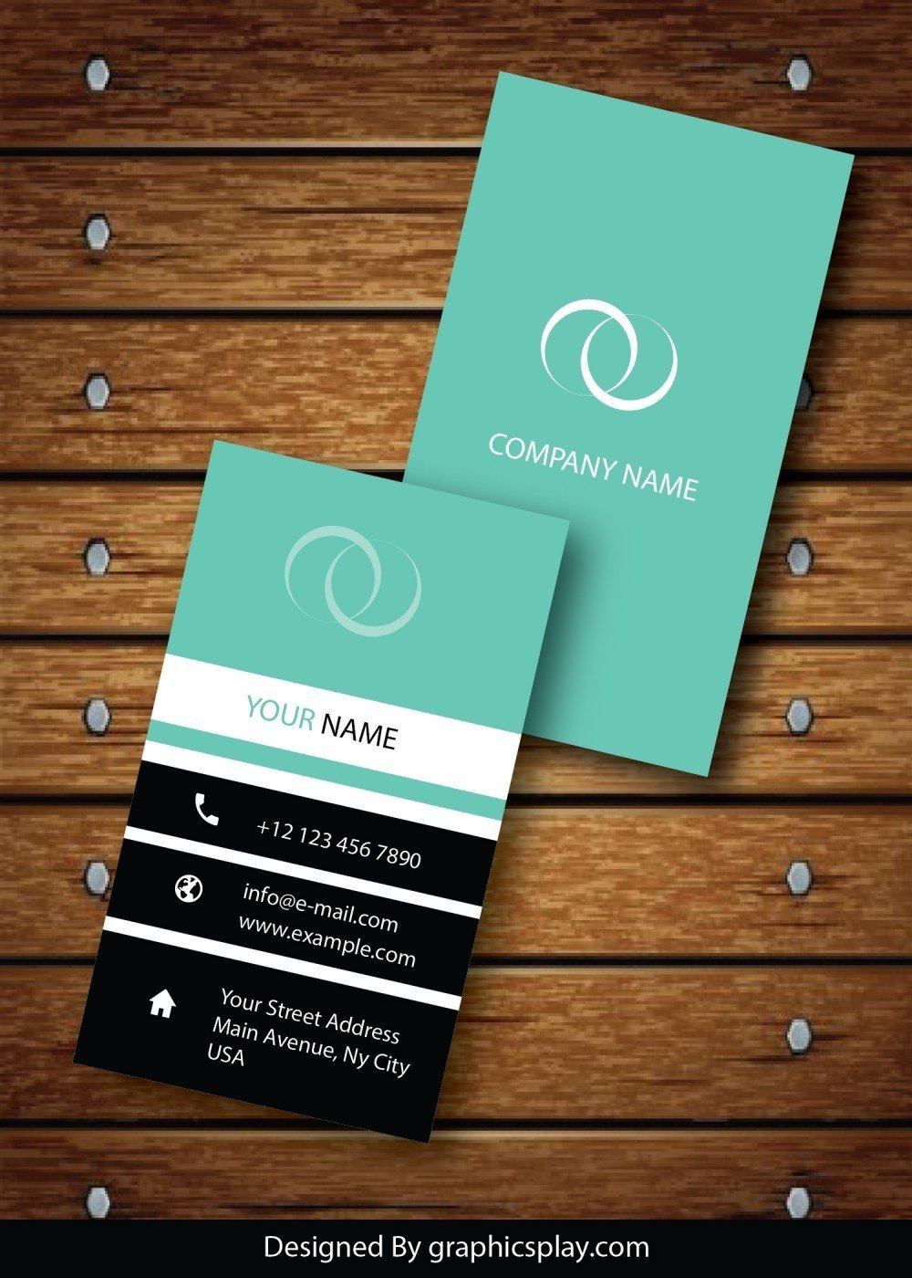 Vertical Business Card Design Vector Template - ID 1736 ...