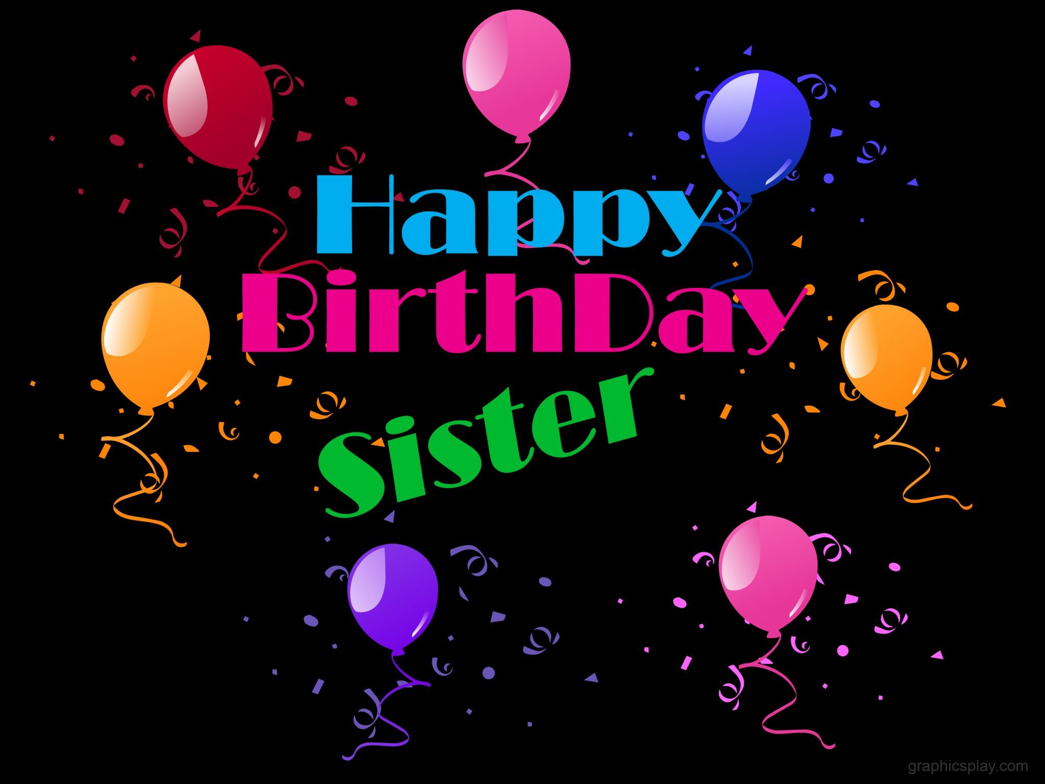 Happy Birthday Sister Beautiful Greeting Graphicsplay