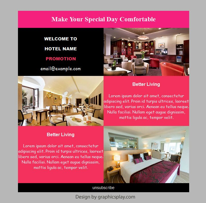 Hotel Html Email Newsletter Template Id 2892 Graphicsplay